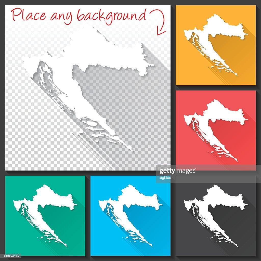 Croatia Map for design, Long Shadow, Flat Design : stock illustration