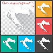 Croatia Map for design, Long Shadow, Flat Design