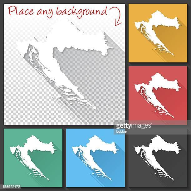 croatia map for design, long shadow, flat design - croatia stock illustrations, clip art, cartoons, & icons