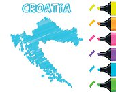 Croatia map hand drawn on white background, blue highlighter