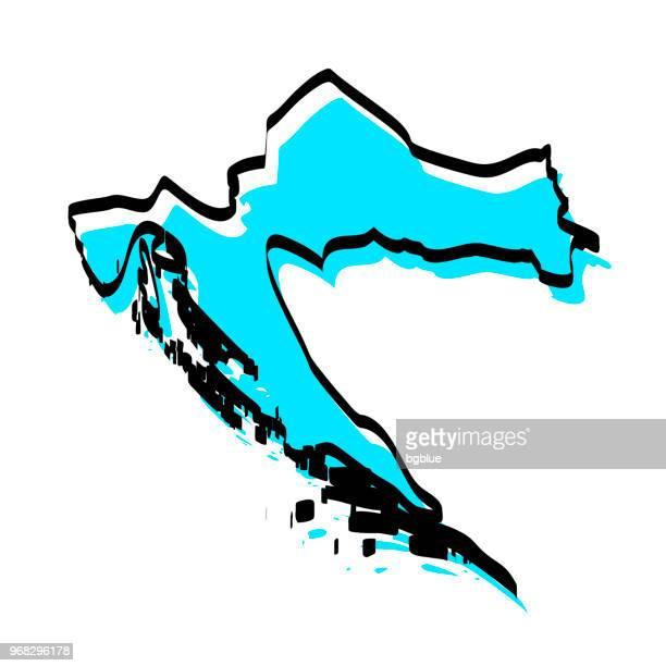 croatia map hand drawn on white background, trendy design - croatia stock illustrations, clip art, cartoons, & icons