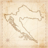 Croatia map in retro vintage style - old textured paper