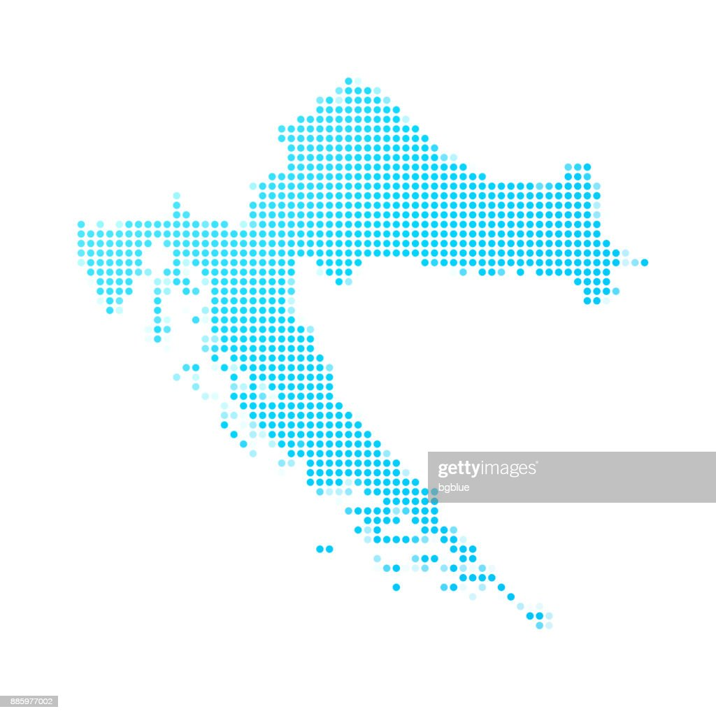 Map 77002.Croatia Map Of Blue Dots On White Background Stock Illustration