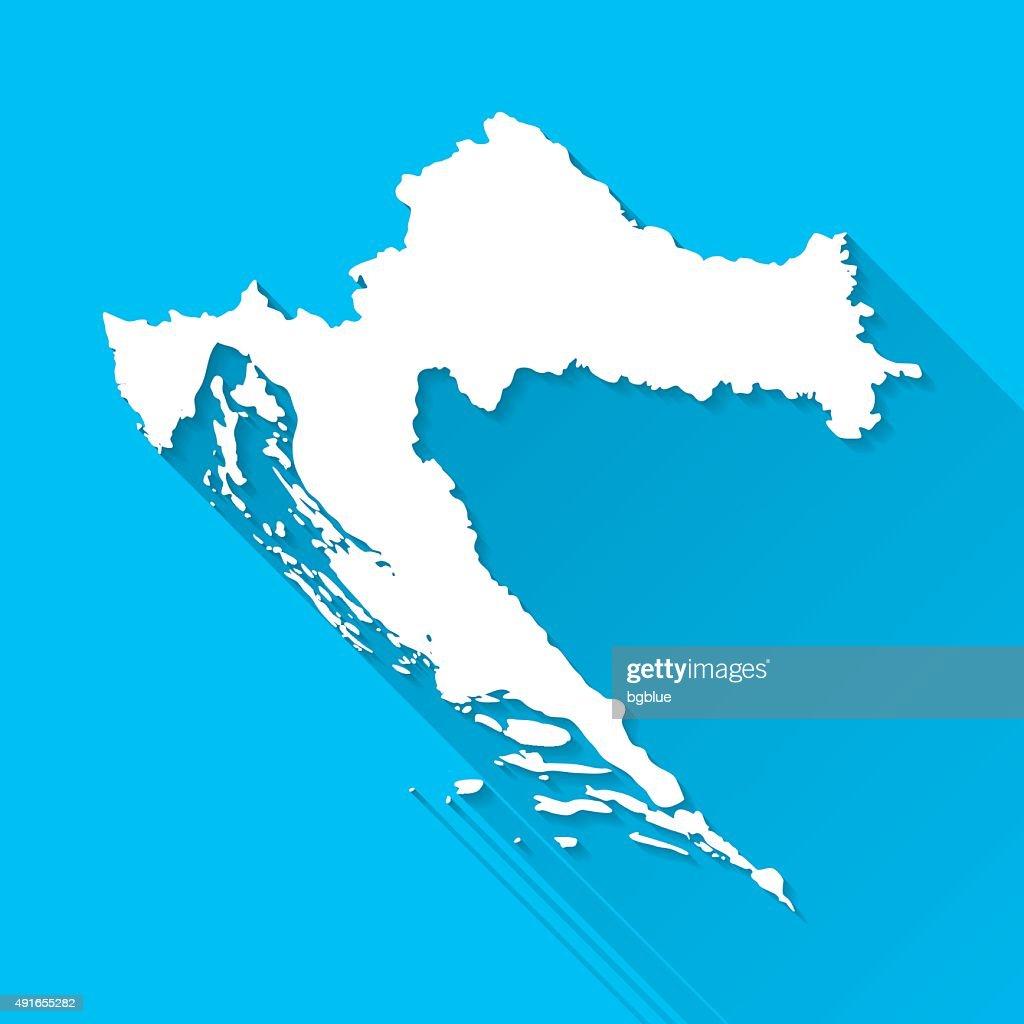 Croatia Map on Blue Background, Long Shadow, Flat Design : stock illustration