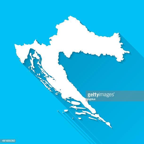 Croatia Map on Blue Background, Long Shadow, Flat Design