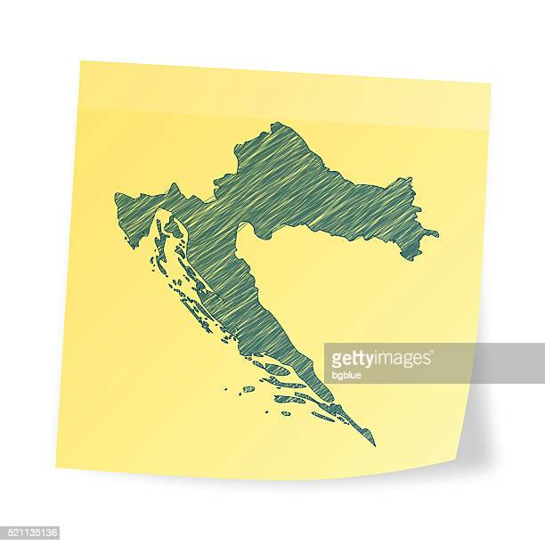 croatia map on sticky note with scribble effect - croatia stock illustrations, clip art, cartoons, & icons
