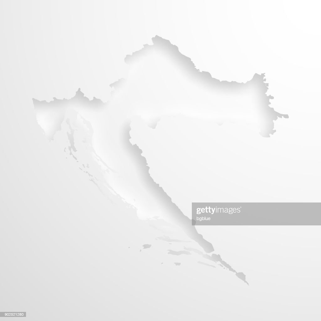 Croatia map with embossed paper effect on blank background : stock illustration