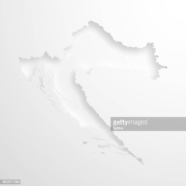 Croatia map with embossed paper effect on blank background