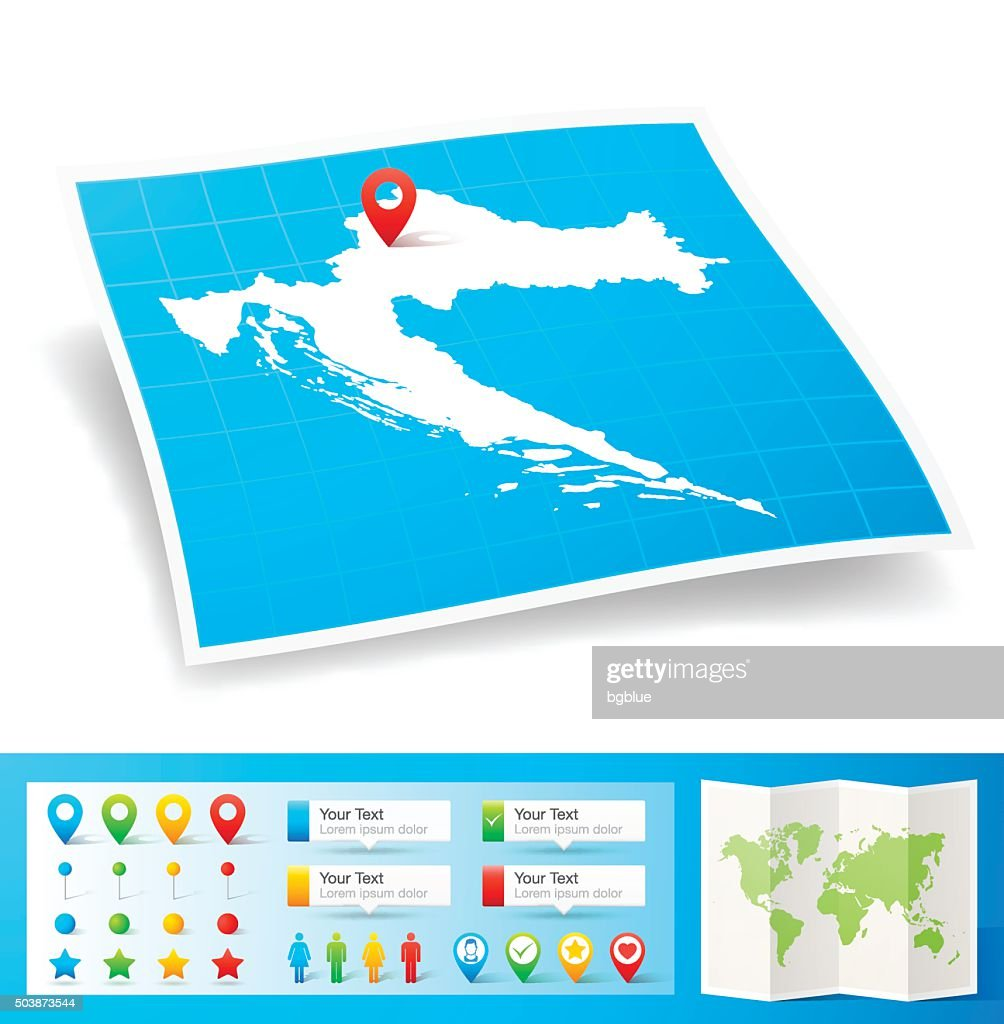 Croatia Map with location pins isolated on white Background : stock illustration
