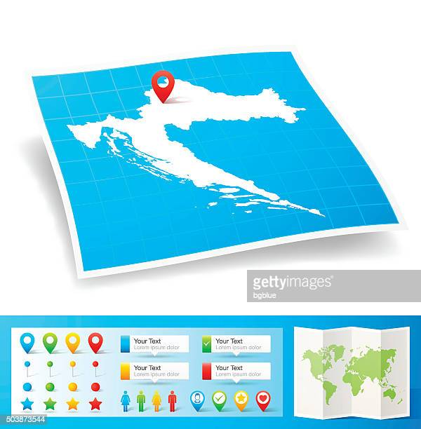 Croatia Map with location pins isolated on white Background