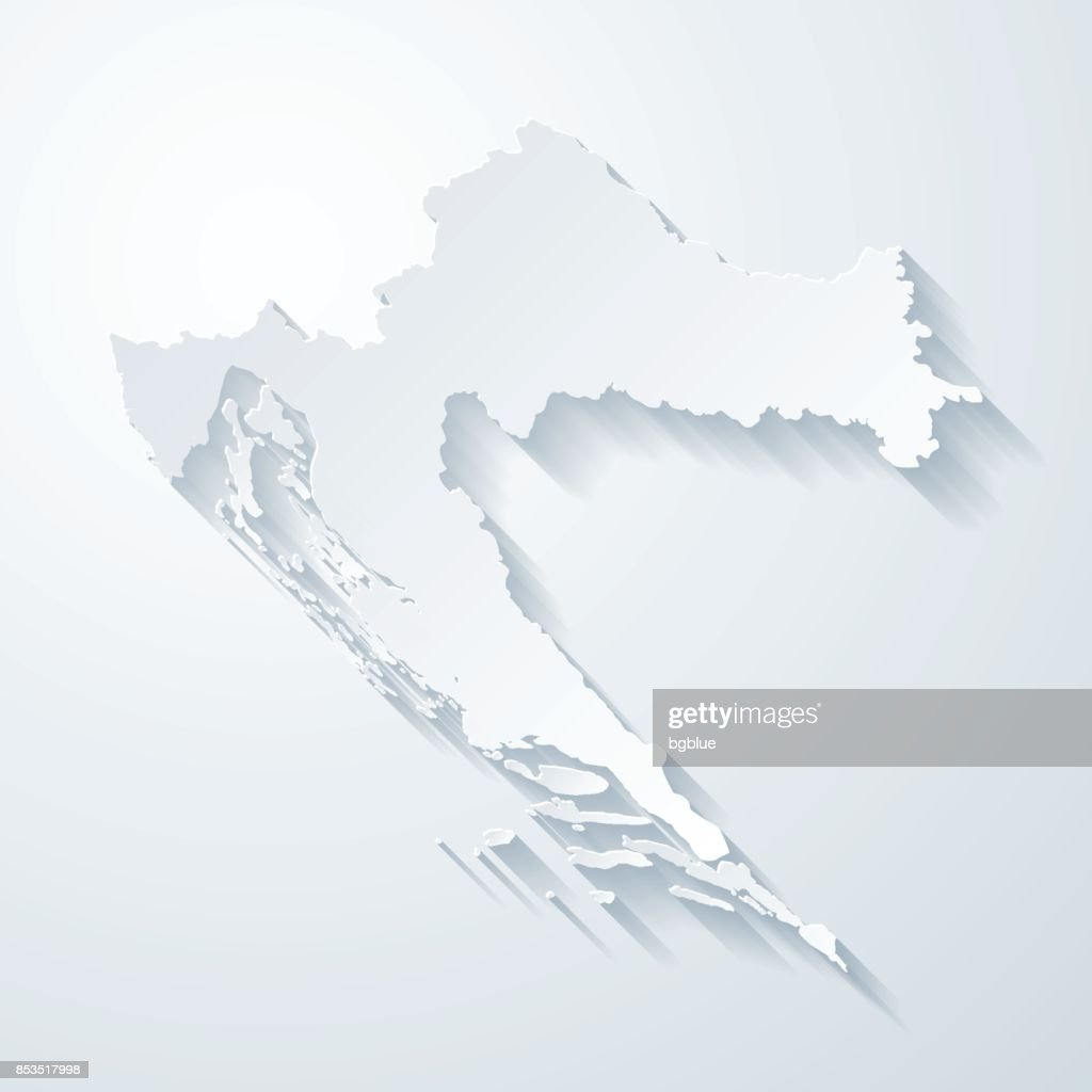 Croatia map with paper cut effect on blank background : stock illustration
