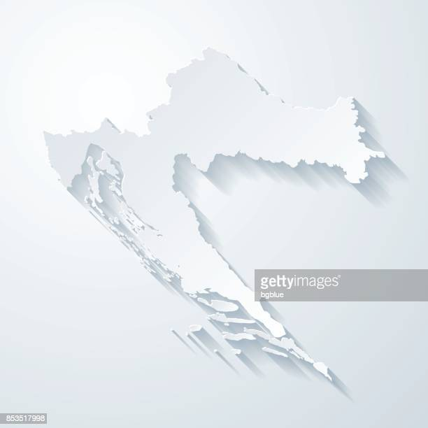 Croatia map with paper cut effect on blank background