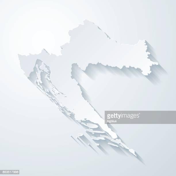 stockillustraties, clipart, cartoons en iconen met kroatië kaart met papier knippen effect op lege achtergrond - kroatië