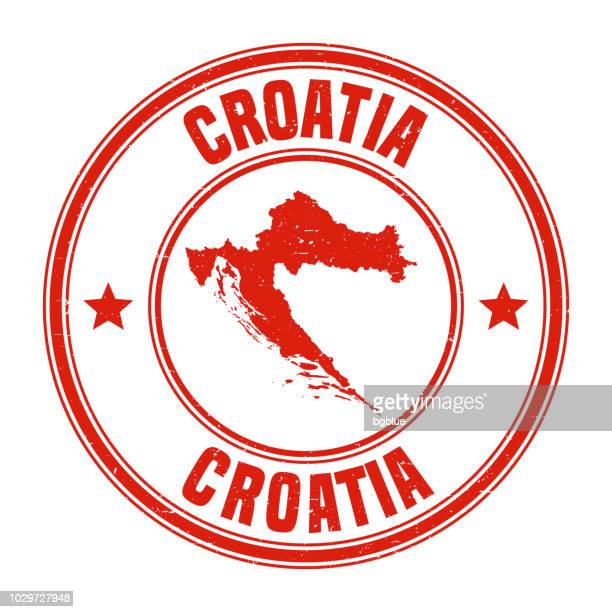 Croatia - Red grunge rubber stamp with name and map