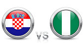 Croatia vs. Nigeria - Match 8 - Group D - 2018 tournament. Shiny metallic icons buttons with national flags isolated on white background.