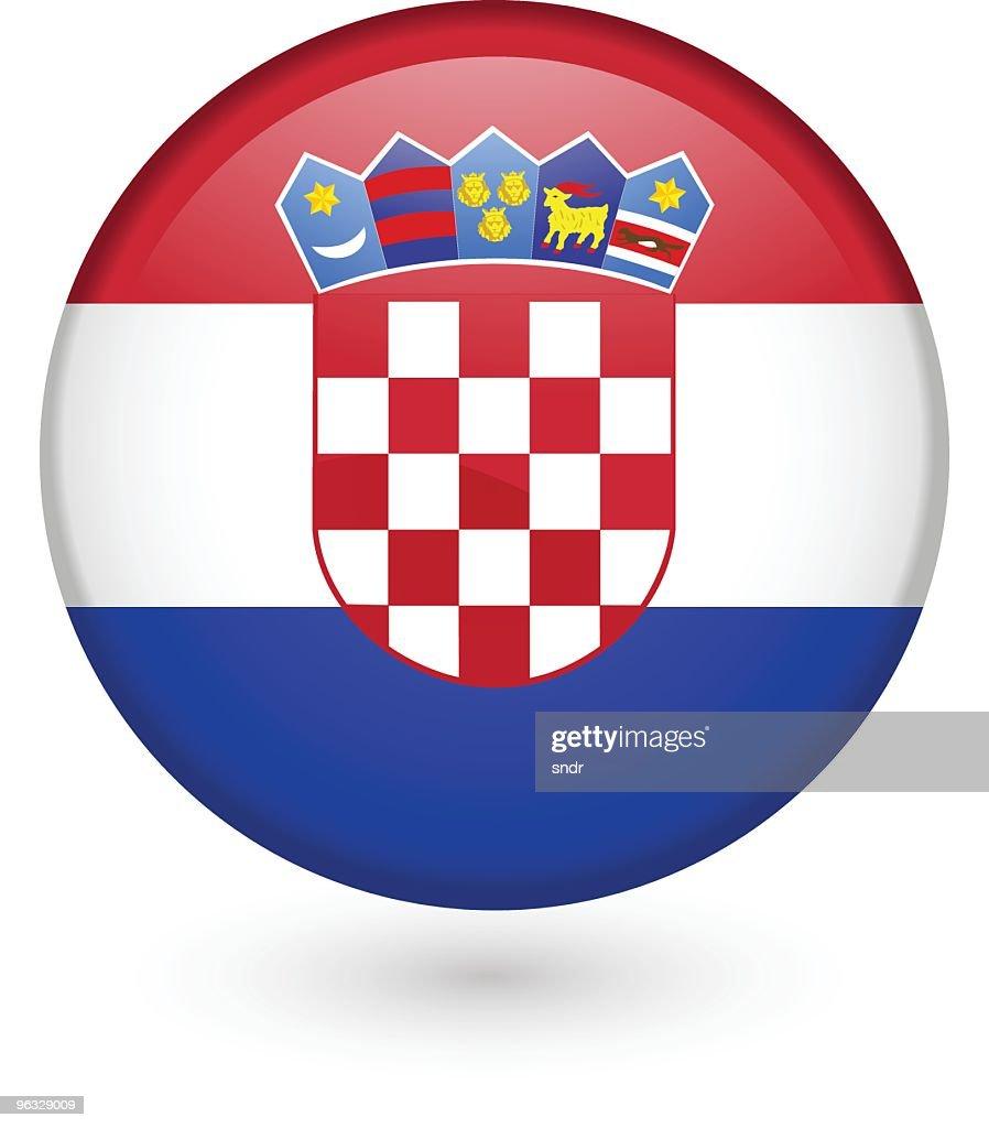 Croatian flag vector button : stock illustration