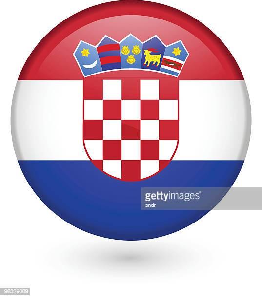 croatian flag vector button - croatian flag stock illustrations, clip art, cartoons, & icons