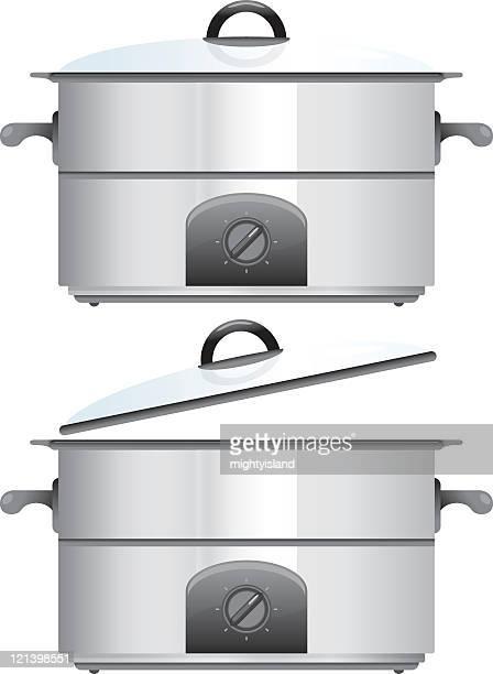 スロークッカー調理器具 - ポットロースト点のイラスト素材/クリップアート素材/マンガ素材/アイコン素材