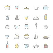 Crockery and cooking outline multicolored big icon set.