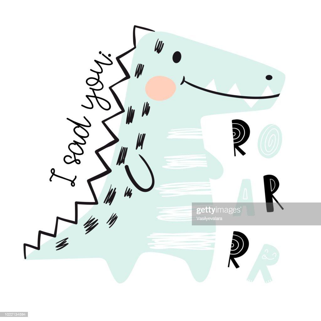 Crocodile baby cute print set. Dinosaur. Cool african animal
