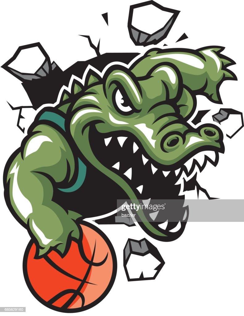 crocodile basketball mascot break the wall