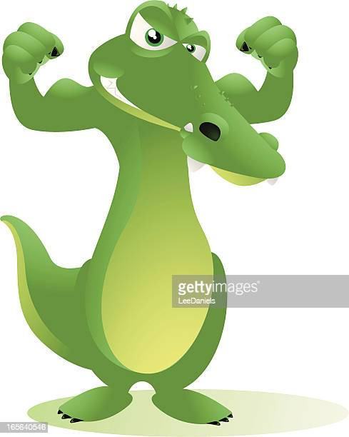 crocodile flexing his muscles - cartoon characters with big teeth stock illustrations