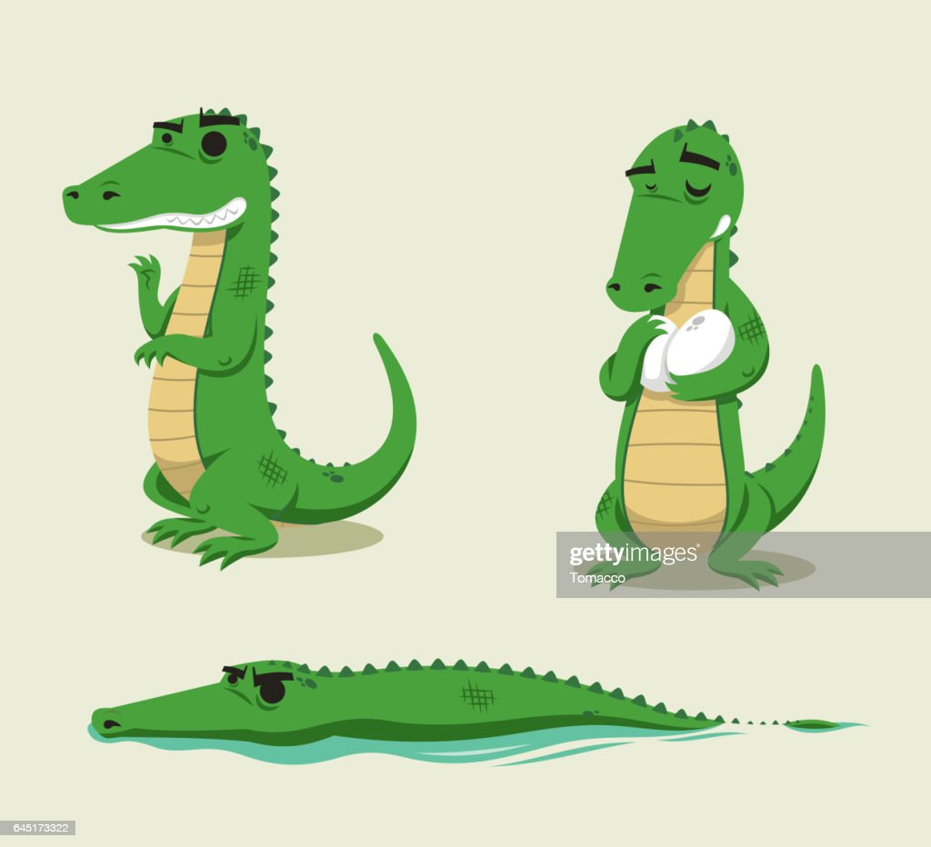Crocodile fun vector cartoon set