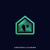 Crocodile Home Illustration Vector Template