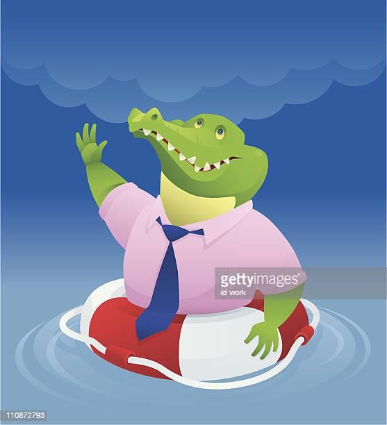 crocodile in buoy