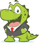 Crocodile or alligator wearing suit