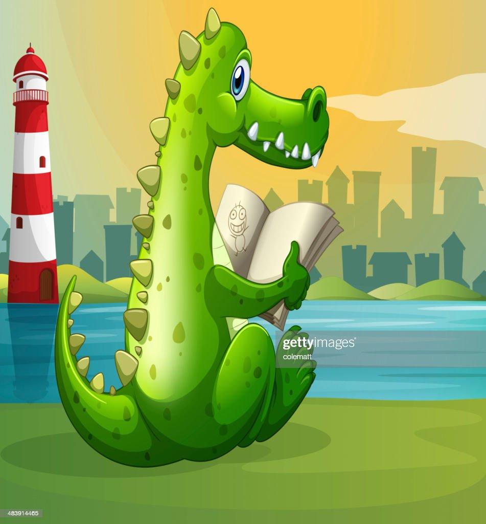 crocodile reading across the lighthouse