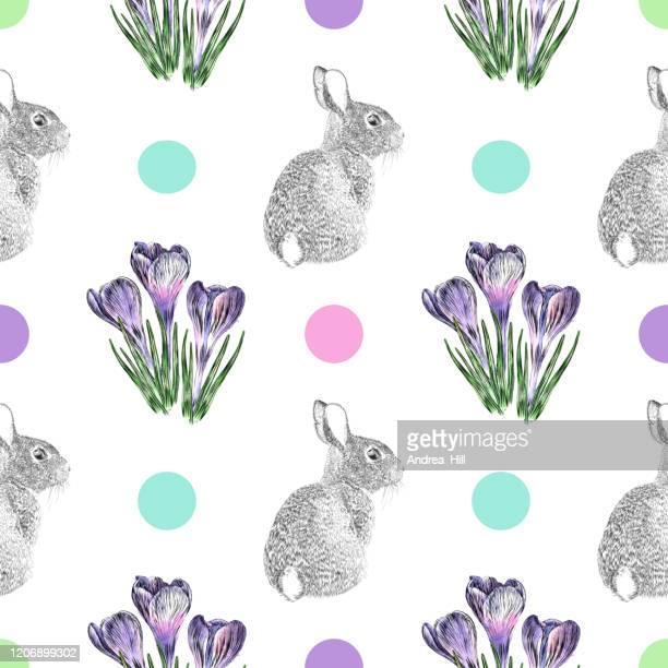 illustrazioni stock, clip art, cartoni animati e icone di tendenza di crocus flowers e easter bunny pen e ink vector seamless pattern - acquerello su carta