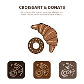 Croissant and donut line icon. Morning breakfast image.