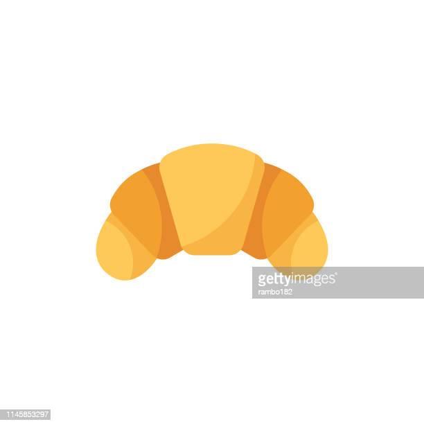 ilustrações, clipart, desenhos animados e ícones de ícone liso do croissant. pixel perfeito. para mobile e web. - croassão