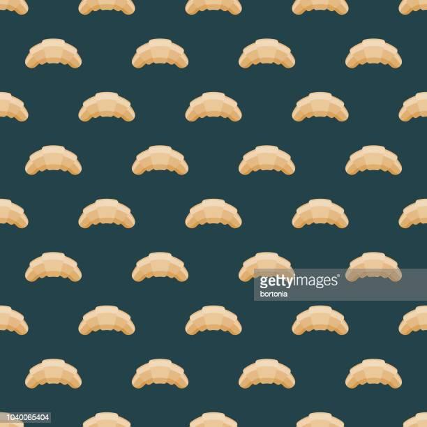 ilustrações, clipart, desenhos animados e ícones de croissant padrão sem emenda - croassão
