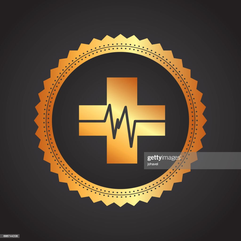 Cross and pulse icon. Medical and health care design. Vector gra