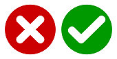 Cross & Check Mark Icons, Flat Round Buttons Set.