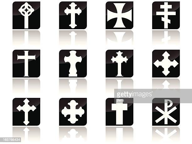 cross collection - protestantism stock illustrations, clip art, cartoons, & icons