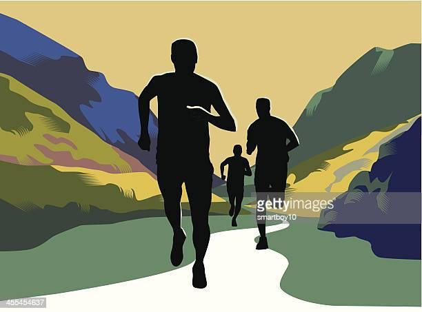 cross country or trail running - marathon stock illustrations