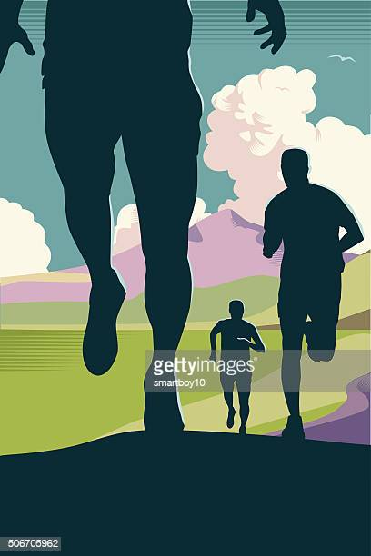 cross country or trail running - sportsperson stock illustrations