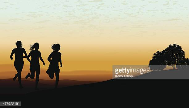 cross country running background - girls - women's track stock illustrations, clip art, cartoons, & icons