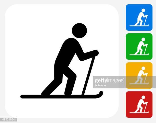 stockillustraties, clipart, cartoons en iconen met cross country skiing icon flat graphic design - military