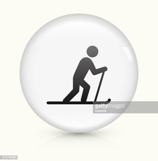 stockillustraties, clipart, cartoons en iconen met cross country skiing icon on white round vector button - military
