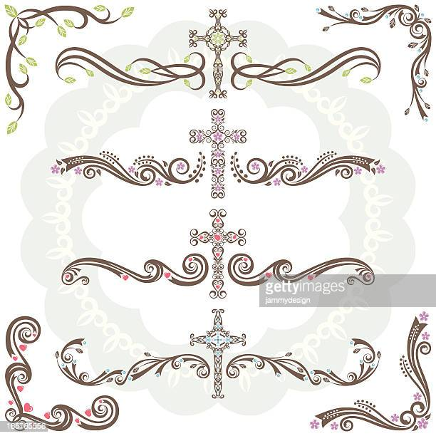cross dividers and corners - crucifix stock illustrations, clip art, cartoons, & icons