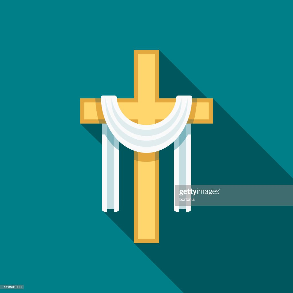 Cross Flat Design Easter Icon with Side Shadow : stock illustration