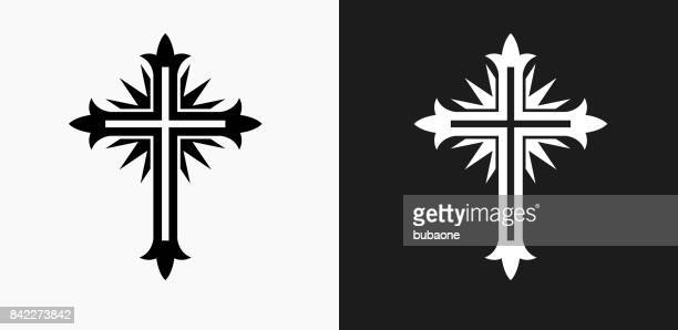 Cross Icon on Black and White Vector Backgrounds