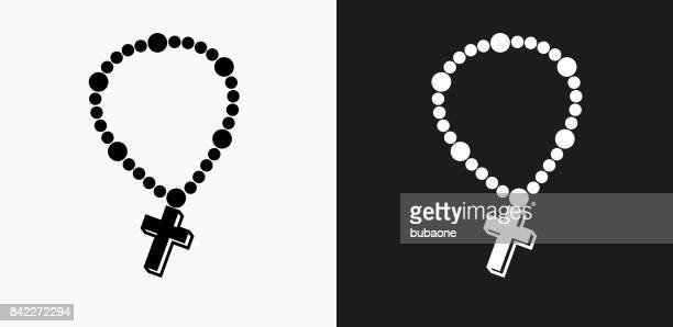 cross necklace icon on black and white vector backgrounds - necklace stock illustrations, clip art, cartoons, & icons