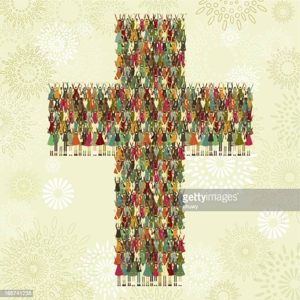 cross of children - christianity stock illustrations