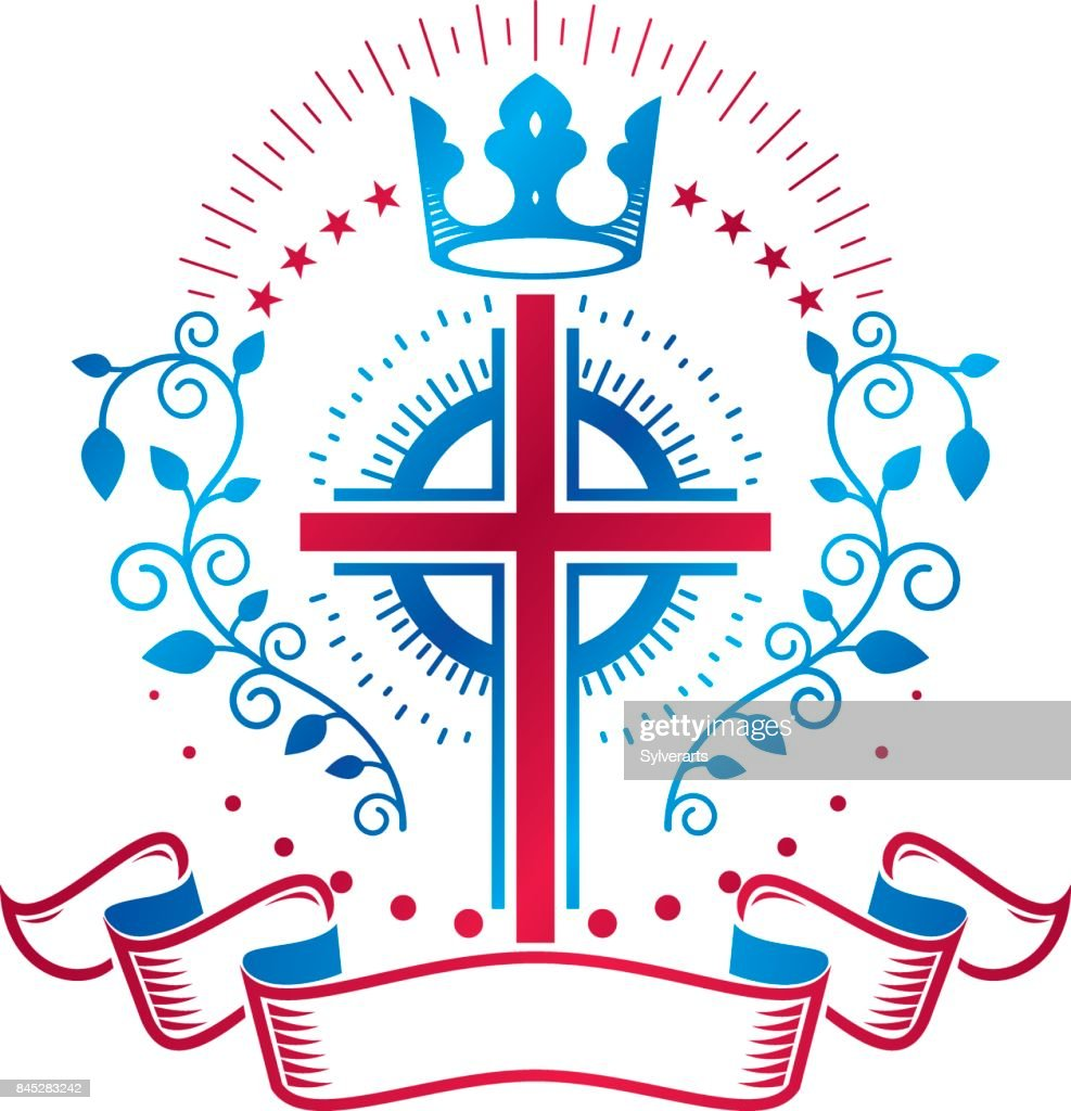 Cross of Christianity Religion emblem. Heraldic Coat of Arms decorative symbol, isolated vector illustration created with royal crown and pentagonal stars.