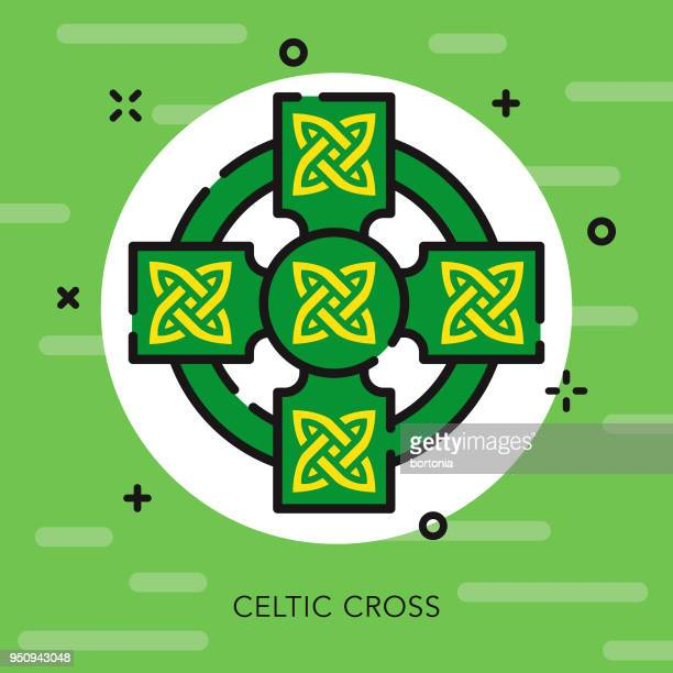 cross open outline st.patrick's day icon - celtic cross stock illustrations, clip art, cartoons, & icons